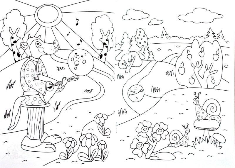 Развиващие задания. Раскраски из сказки колобок Раскраски распечатать с колобком лисой волком и другими героями сказки где колобок от всех убежал